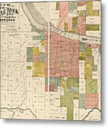 Antique Map Of Little Rock Arkansas By Gibb And Duff Rickon - 1888 Metal Print by Blue Monocle