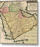 Antique Map Of Saudi Arabia And The Arabian Peninsula By Nicolas Sanson - 1654 Metal Print by Blue Monocle