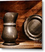 Antique Pewter Pitcher And Plate Metal Print by Olivier Le Queinec