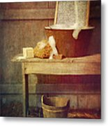 Antique Wash Tub With Soaps Metal Print by Sandra Cunningham