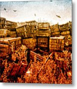 Apple Crates And Crows Metal Print by Bob Orsillo