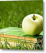 Apple On Pile Of Books On Grass Metal Print by Michal Bednarek