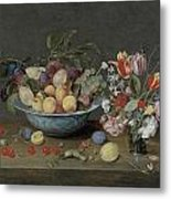 Apricots Plums And Grapes In A Bowl Metal Print by Jacob Van Hulsdonck