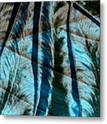 Aqua And Brown Leaf Montage Metal Print by Bonnie Bruno