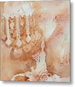 Arabesque Coffee Pots And Jewellery IIi Metal Print by Beena Samuel