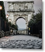 Arch Of Titus Morning Glow Metal Print by Joan Carroll