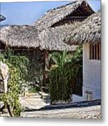 Architecture With Thathed Roofs Metal Print by Linda Phelps