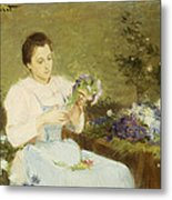 Arranging Flowers For A Spring Bouquet Metal Print by Victor Gabriel Gilbert