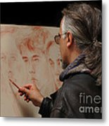 Artist At Work Florence Italy Metal Print by Bob Christopher
