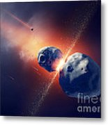 Asteroids Collide And Explode  In Space Metal Print by Johan Swanepoel