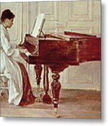 At The Piano Metal Print by Theodore Robinson