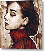 Audrey Hepburn Metal Print by Olga Shvartsur