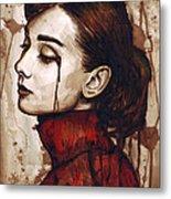 Audrey Hepburn - Quiet Sadness Metal Print by Olga Shvartsur