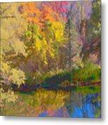 Autumn Beside The Pond Metal Print by Don Schwartz