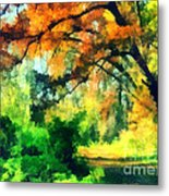 Autumn In The Woods Metal Print by Odon Czintos