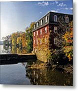 Autumn Morning At The Kingston Mill Metal Print by George Oze