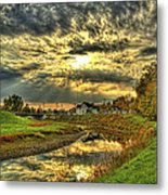 Autumn Sunset Reflection Metal Print by Jim Lepard