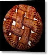 Bacon Weave Baseball Square Metal Print by Andee Design