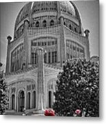 Bahai Temple Wilmette In Black And White Metal Print by Rudy Umans