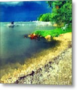 Balaton Lake Shore Metal Print by Odon Czintos