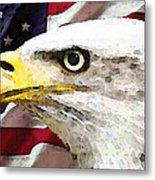 Bald Eagle Art - Old Glory - American Flag Metal Print by Sharon Cummings