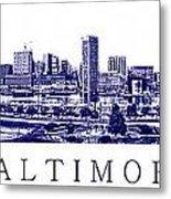 Baltimore Blueprint Metal Print by Olivier Le Queinec