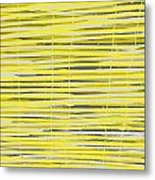 Bamboo Fence - Yellow And Gray Metal Print by Saya Studios
