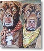 Bandana Dogs Metal Print by Stephanie Dunn