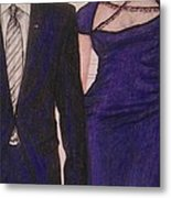 Barack And Michelle Obama On The Balcony At The Whitehouse Metal Print by Vicki  Jones