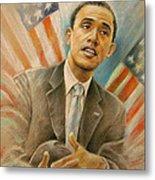 Barack Obama Taking It Easy Metal Print by Miki De Goodaboom