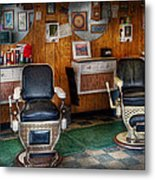 Barber - Frenchtown Nj - Two Old Barber Chairs  Metal Print by Mike Savad