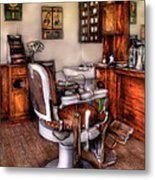 Barber - The Barber Chair Metal Print by Mike Savad