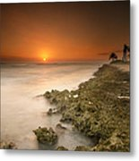 Barber's Point Light House Sunset Metal Print by Tin Lung Chao