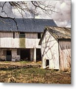 Barn Near Utica Mills Covered Bridge Metal Print by Joan Carroll