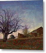 Barn On The Hill - Big Sky Metal Print by R christopher Vest