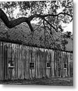 Barn With Brick Silo In Black And White Metal Print by Julie Dant