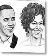 Barrack And Michelle Obama Metal Print by Murphy Elliott