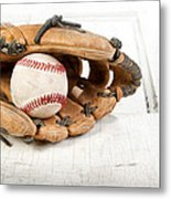 Baseball And Mitt Metal Print by Jennifer Huls