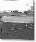 Baseball At Yankee Stadium Metal Print by Underwood Archives