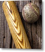 Baseball Bat And Ball Metal Print by Garry Gay