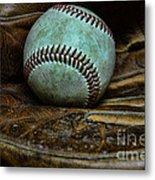 Baseball Broken In Metal Print by Paul Ward