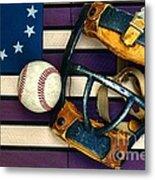 Baseball Catchers Mask Vintage On American Flag Metal Print by Paul Ward