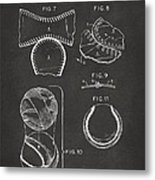 Baseball Construction Patent 2 - Gray Metal Print by Nikki Marie Smith