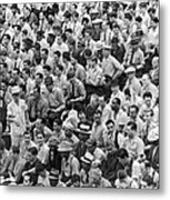 Baseball Fans In The Bleachers At Yankee Stadium. Metal Print by Underwood Archives