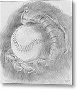Baseball Glove Metal Print by Michele Engling