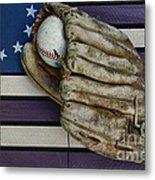 Baseball Mitt On American Flag Folk Art Metal Print by Paul Ward