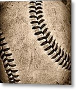 Baseball Old And Worn Metal Print by Paul Ward