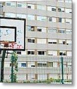 Basketball Court In A Social Neighbourhood Metal Print by Luis Alvarenga