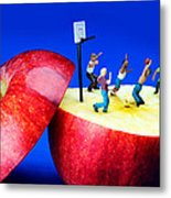 Basketball Games On The Apple Little People On Food Metal Print by Paul Ge