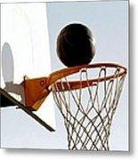 Basketball Hoop And Ball Metal Print by Lanjee Chee